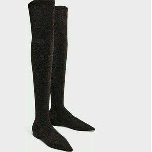 Zara Flat Glitter Black Over Knee Pointed Toe